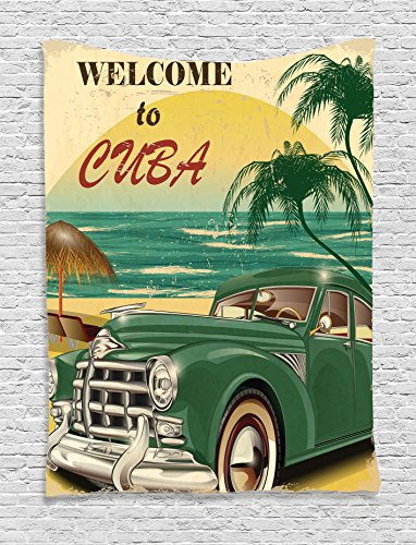 1950s Decor Tapestry Wall Hanging by Ambesonne, Nostalgic Welcome to Cuba Artsy Print with Classic Car Beach Ocean and Palm Trees, Bedroom Living Room Dorm Decor, 60 x 80 Inches, Green Cream Yellow