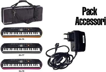 Accesorios Pack fuente/Funda Keybag/Minibag Casio para teclados y piano SA76/77/78: Amazon.es: Electrónica