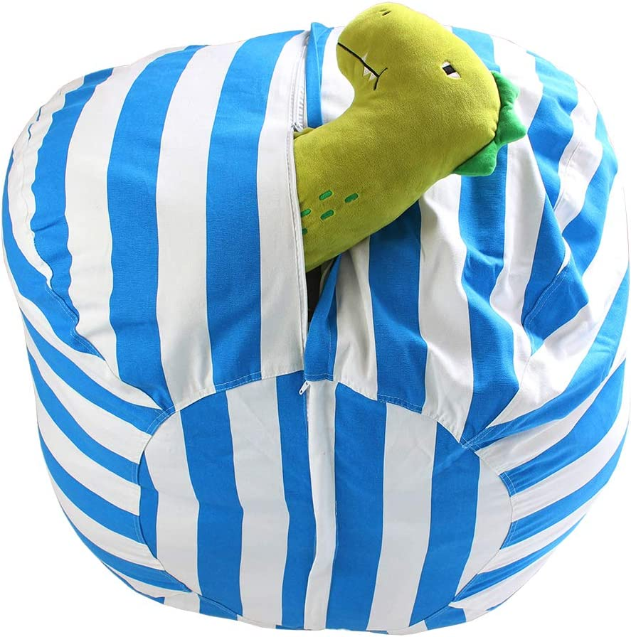 Canvas Soft Toy Storage Bags for Kids Childrens-Blue//White Stripe-38 TOPTIE 38 Extra Large Stuffed Animal Bean Bag Chair
