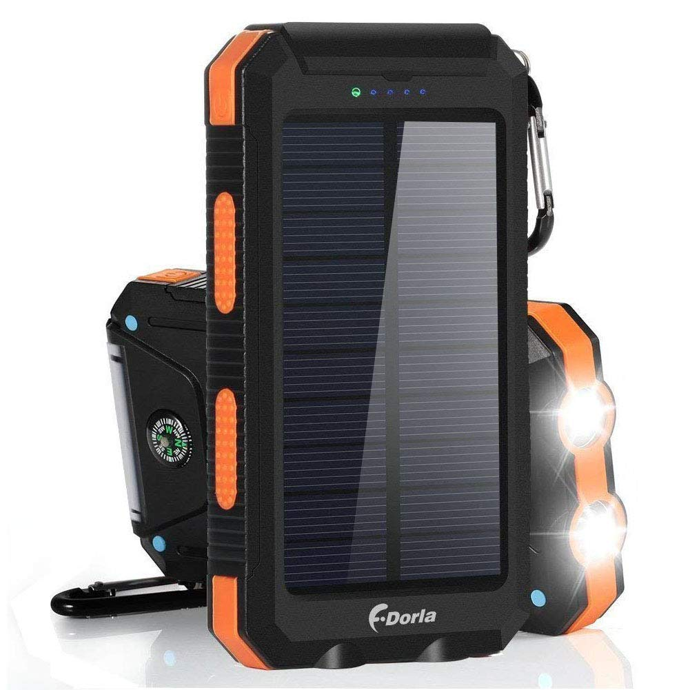 Solar Charger 20000mAh Power Bank, Portable Charger Solar Phone Charger with 2 USB Port 2 LED Light External Battery Pack for Emergency Travelling Camping, iPhone Android Cellphone Charging (Orange) by F.DORLA