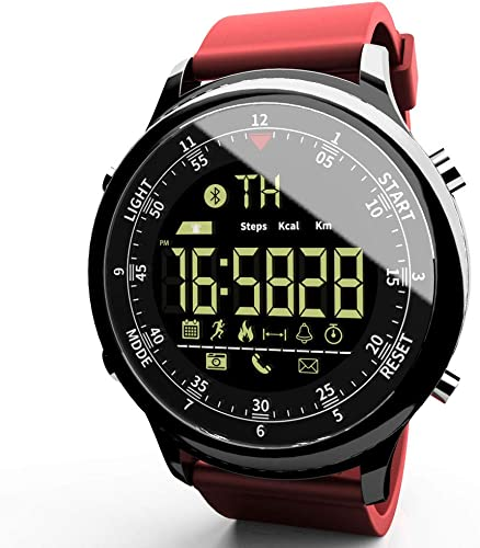 LOKMAT Sports Digital Smart Watch Women Men Waterproof Bluetooth Smart Wrist Watch, Smartwatch with Walking Calories,Remote Camera, Call SNS SMS Reminder for iOS and Android Red-Band