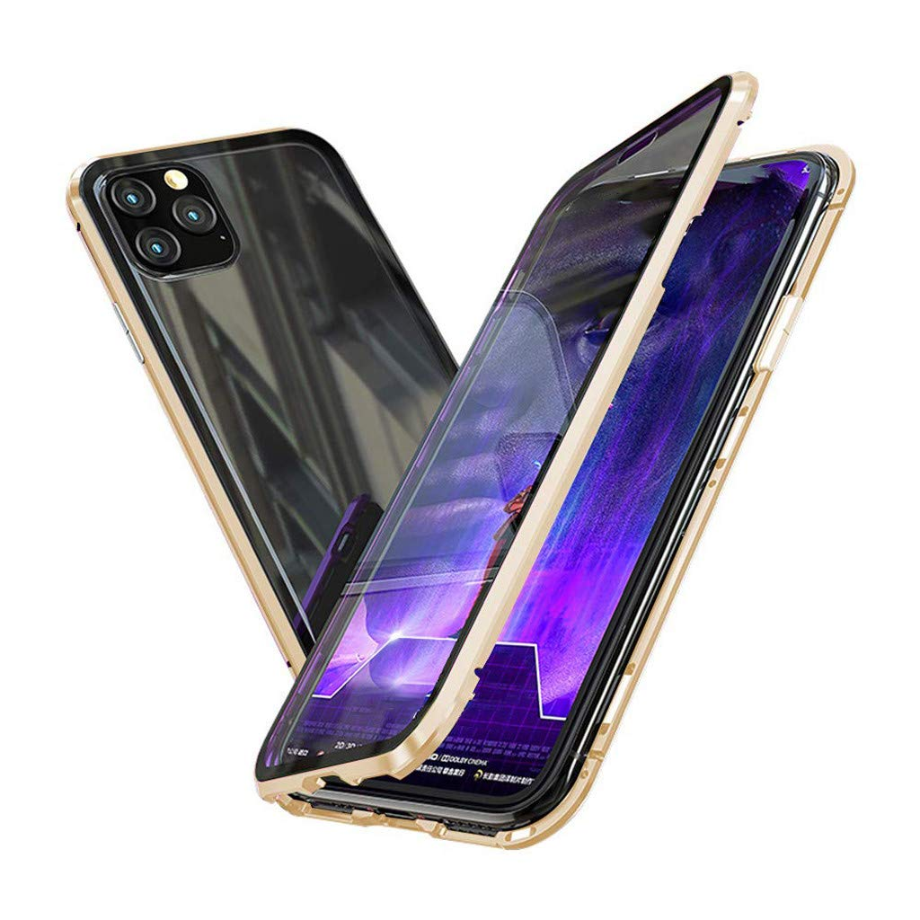 Clear Double Sided Tempered Glass Thin Anti-Spy 360 Full Protective Case for Apple iPhone Privacy Magnetic Case for iPhone 11//Pro//Pro Max Magnet Absorption Metal Bumper Frame