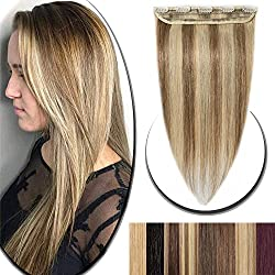 18 Inch Clip in Extensions 100% Remy Human Hair 50g One-piece 5 Clips Long Straight Hair Extensions for Women Wide Weft Soft Silky Balayage #12/613 Golden Brown Highlighted with Bleach Blonde