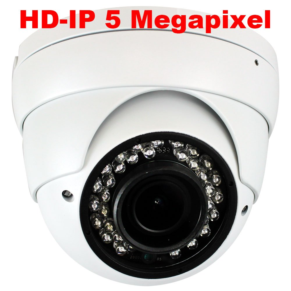 GW Security H.265 POE IP Security Camera–5mp HD IP 1920p Dome Camera - IP66 Weatherproof – Wide Angle with 2.8-12mm Varifocal lens