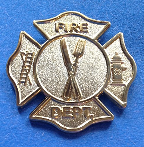 FD FIRE DEPARTMENT KNIFE & FORK PIN CHEF PIN