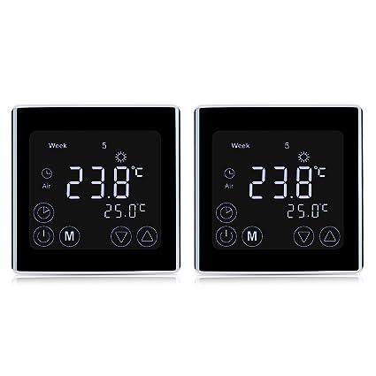 Floureon - 2 termostatos digitales con pantalla táctil, termostatos de radiador programable para calefacción de