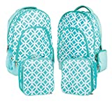 Reinforced Water Resistant School Backpack and Insulated Lunch Bag 2 Pack - Aqua Circle Link