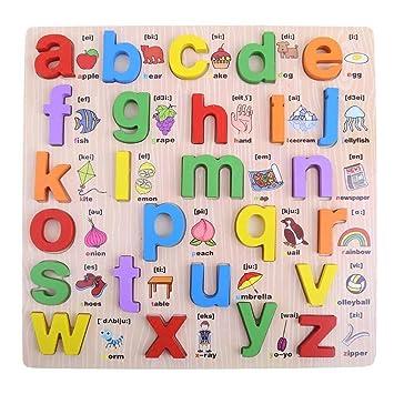 Preescolar del alfabeto rompecabezas de madera Junta Cartas ...