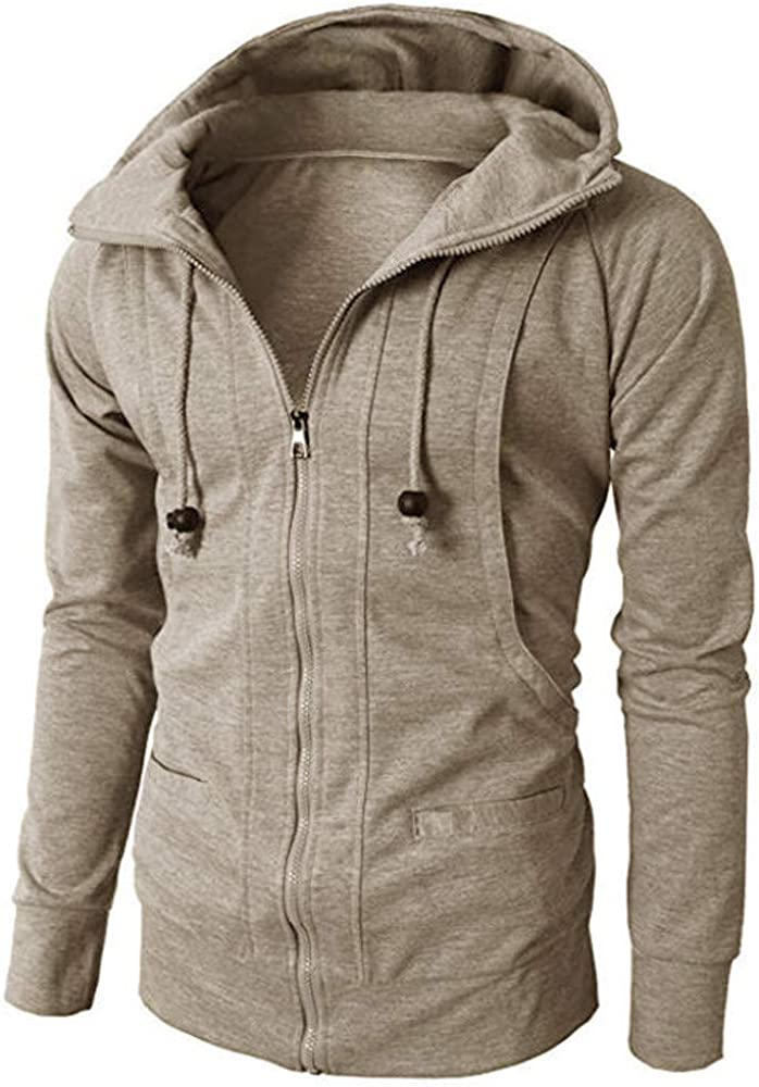 Paymenow Men Casual Plain Long Sleeve Coat Autumn Winter Zipper Jacket Coat Hoodie Outwear