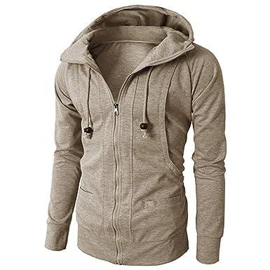 3ff784d2f8 Italily Uomo Jacket Autunno Inverno Felpa con Cappuccio Uomo Cappuccio  Felpa Giacca Cappotto di Peso Medio Full Zip Outwear Manica Lunga Giacche  Gli ...