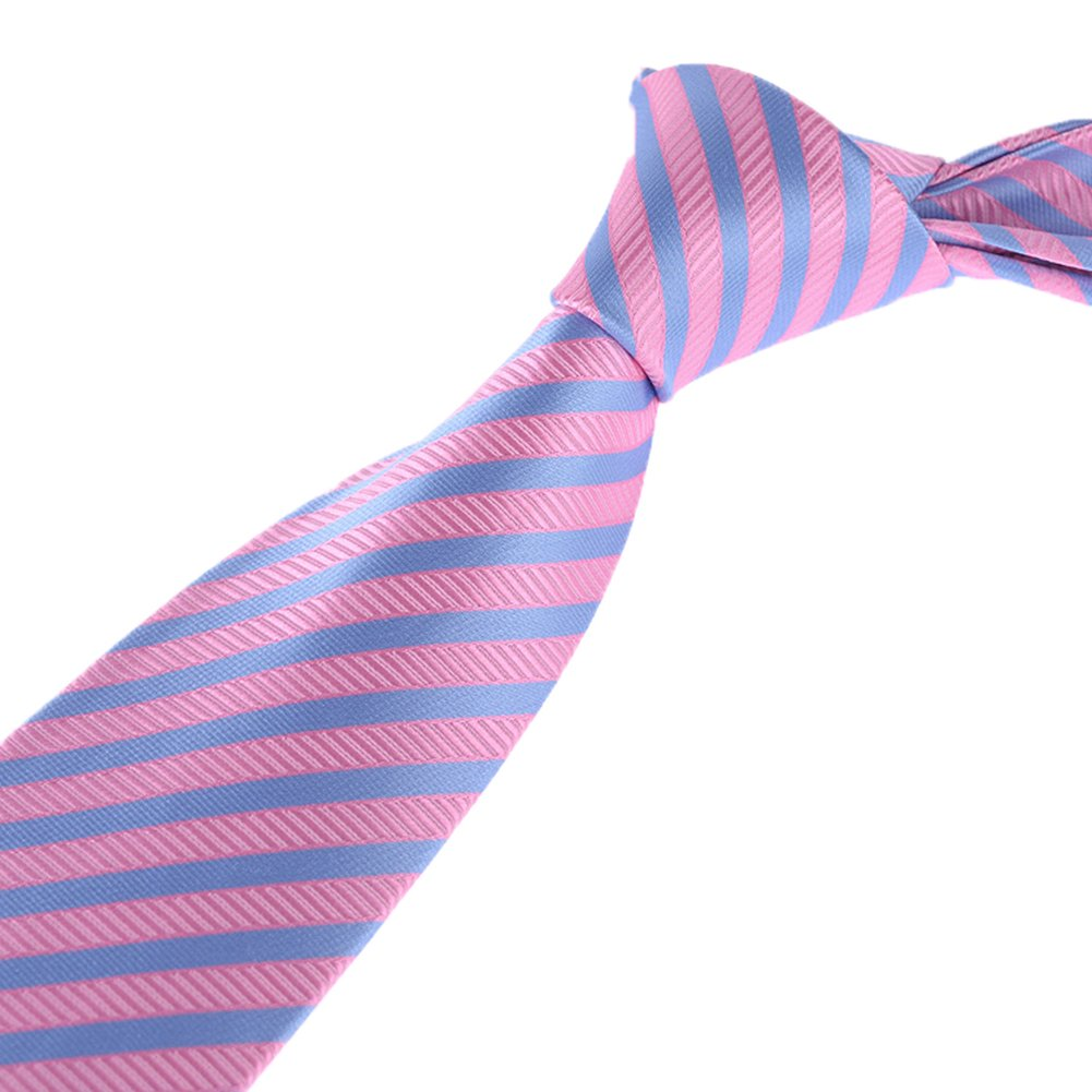 Youth Men Big Boys Repp Striped Ties Slim Weddings Formal Neckties by Kihatwin (One Size, Pink Bule)