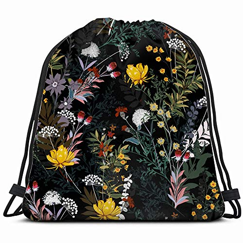 Soft Gentle Dark Garden Night Full Floral Drawstring Backpack Gym Dance Bags For Girls Kids Bag Shoulder Travel Bags Birthday Gift For Daughter Children Women