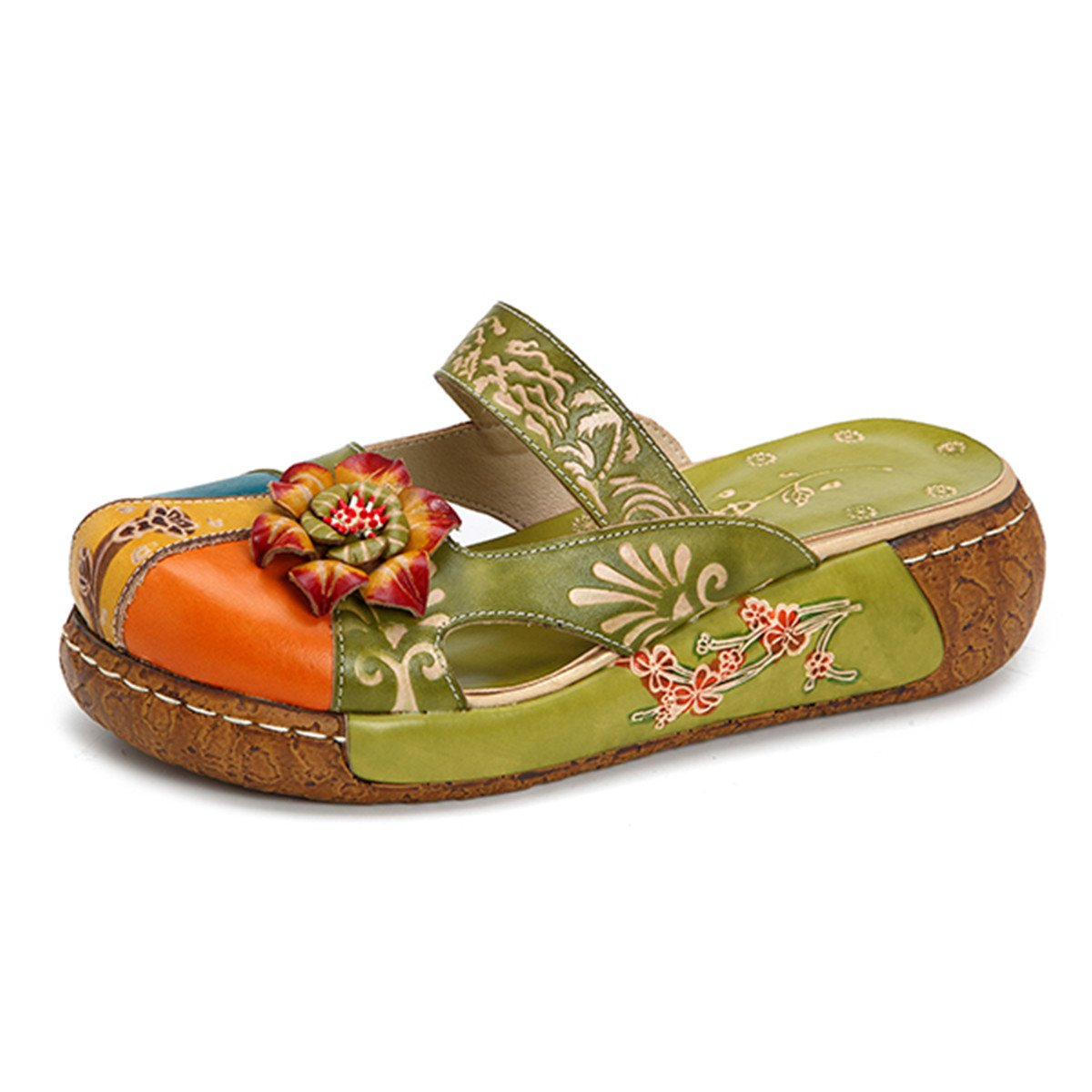 Gracosy Damen Sandalen, Sommer Leder Pantoffel Vintage Slipper Rückenfrei Clogs Bunte Blume Schuhe Weich Komfortabel  40 EU|Grün