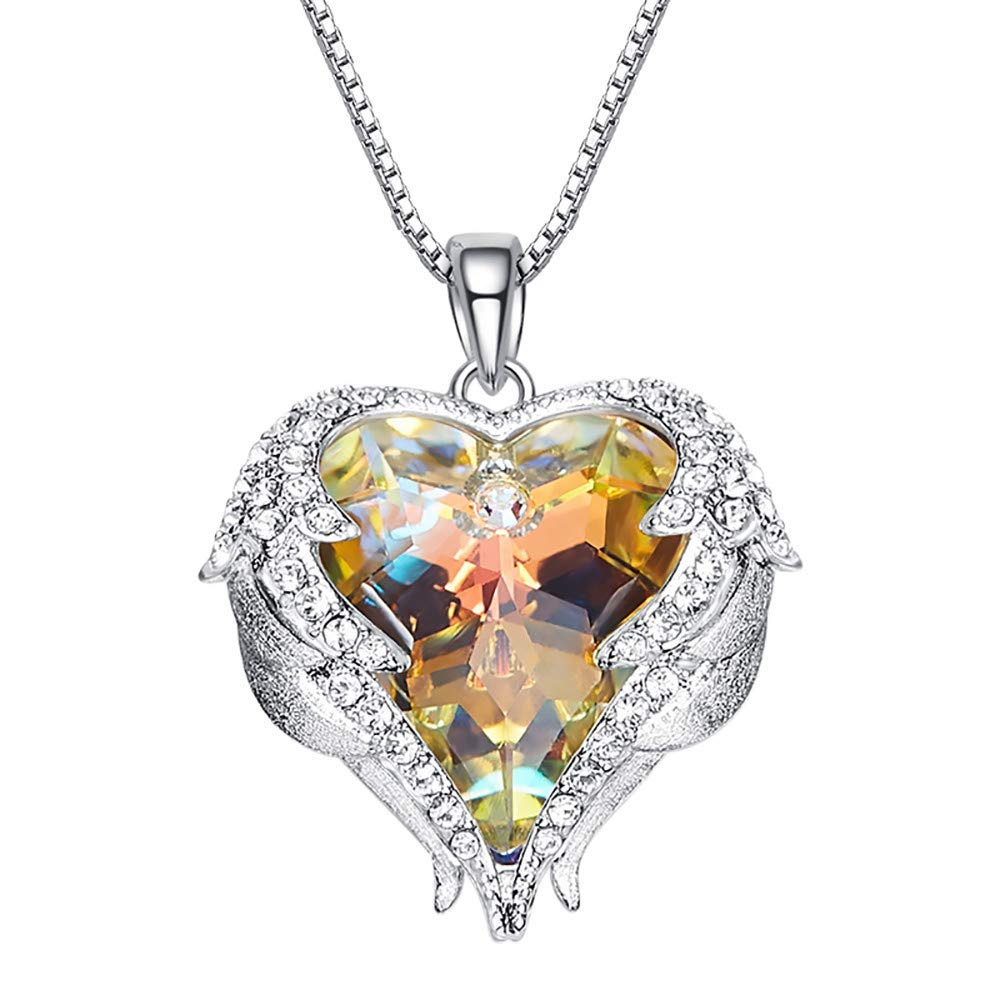 BOLUOYI Necklace Extenders for Women Sale,Crystal Heart Necklace for Women Romantic Fashion Classic Luxury Rhinestones,Multicolor