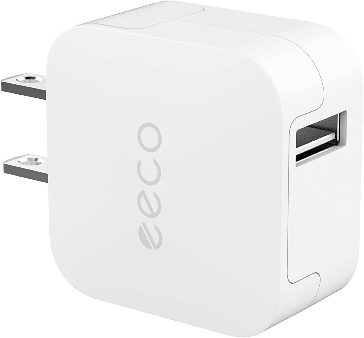 eeco Mini USB Wall Charger 12W 2.4A, Travel Wall Charger with SmartIC Fast Charging and Universal Compatibility for iPhone X, iPhone 8/7/6s/6s Plus, iPad Air/Pro/Mini, Samsung, HTC and More (White)