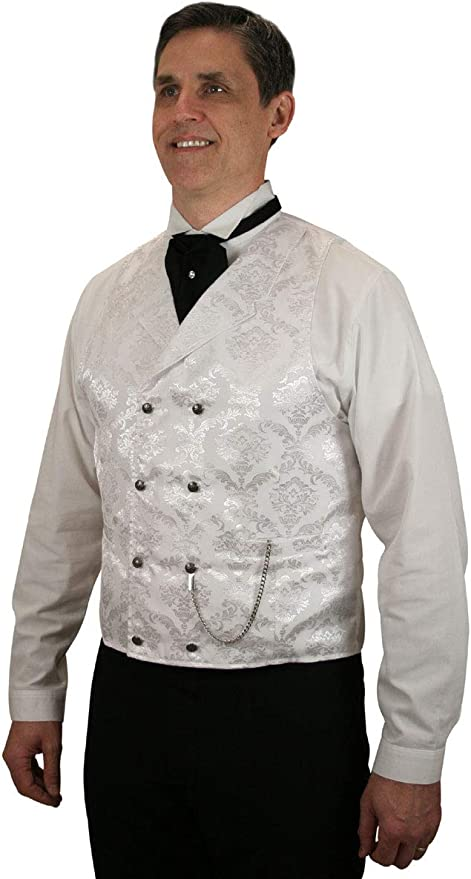 Men's Steampunk Clothing, Costumes, Fashion Historical Emporium Mens Satin Jacquard Double Breasted Dress Vest $74.95 AT vintagedancer.com