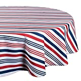 "DII 100% Polyester, Spill proof and Waterproof, Machine Washable, Tablecloth for Outdoor Use, 60"" Round, 4th of July Patriotic Stripe, Seats 4 People"