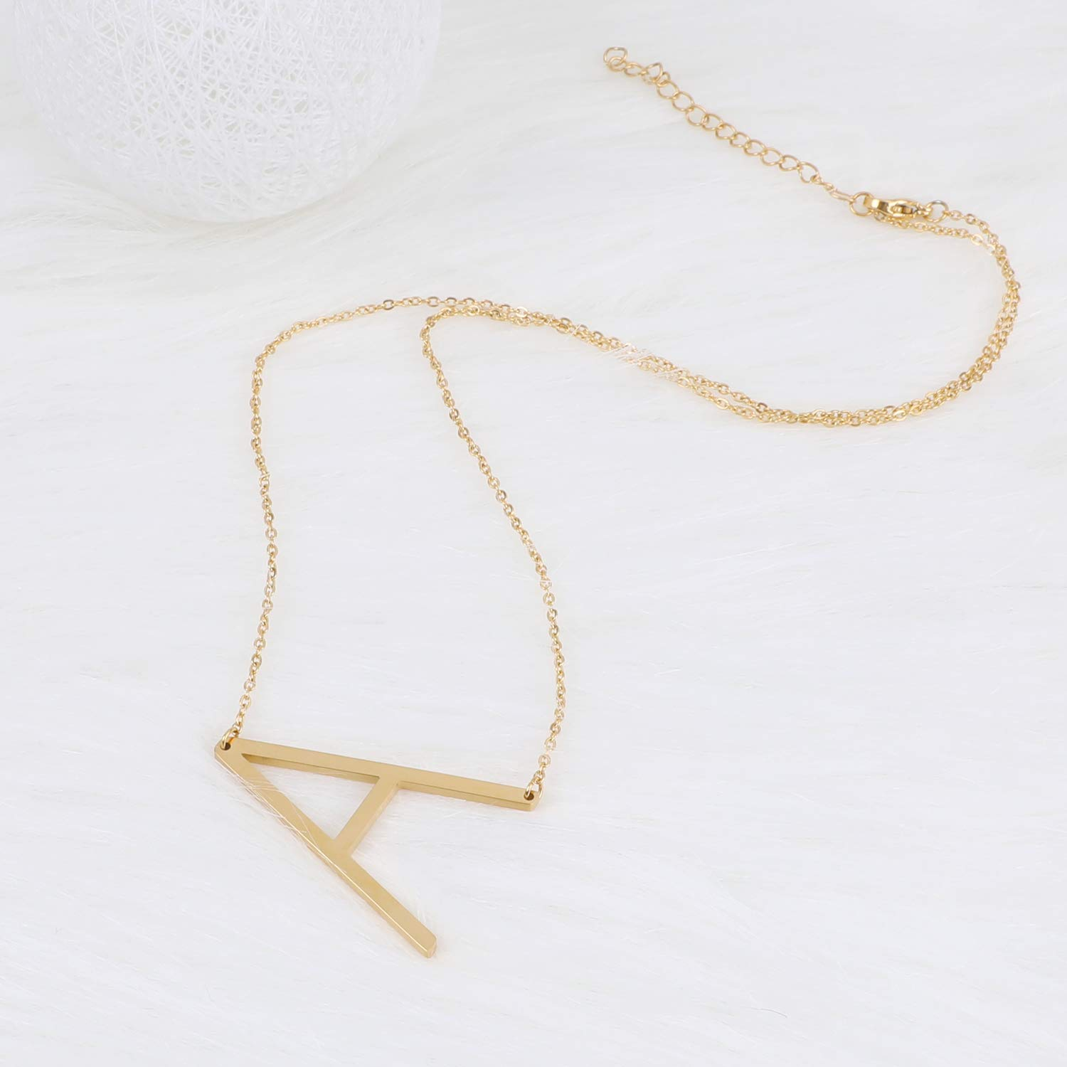 BALTEUS Initial Necklace for Women Girls Gold Stainless Steel Necklace Sideways Letters Pendant Best Firends (Gold A)