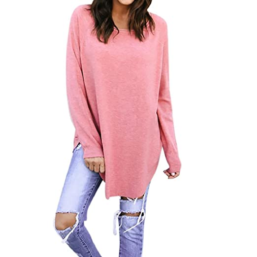 e1979eee90 GONKOMA Clearance Women Pink Long Sleeve Loose T-Shirt Blouse Casual  Pullover Tops Tee (