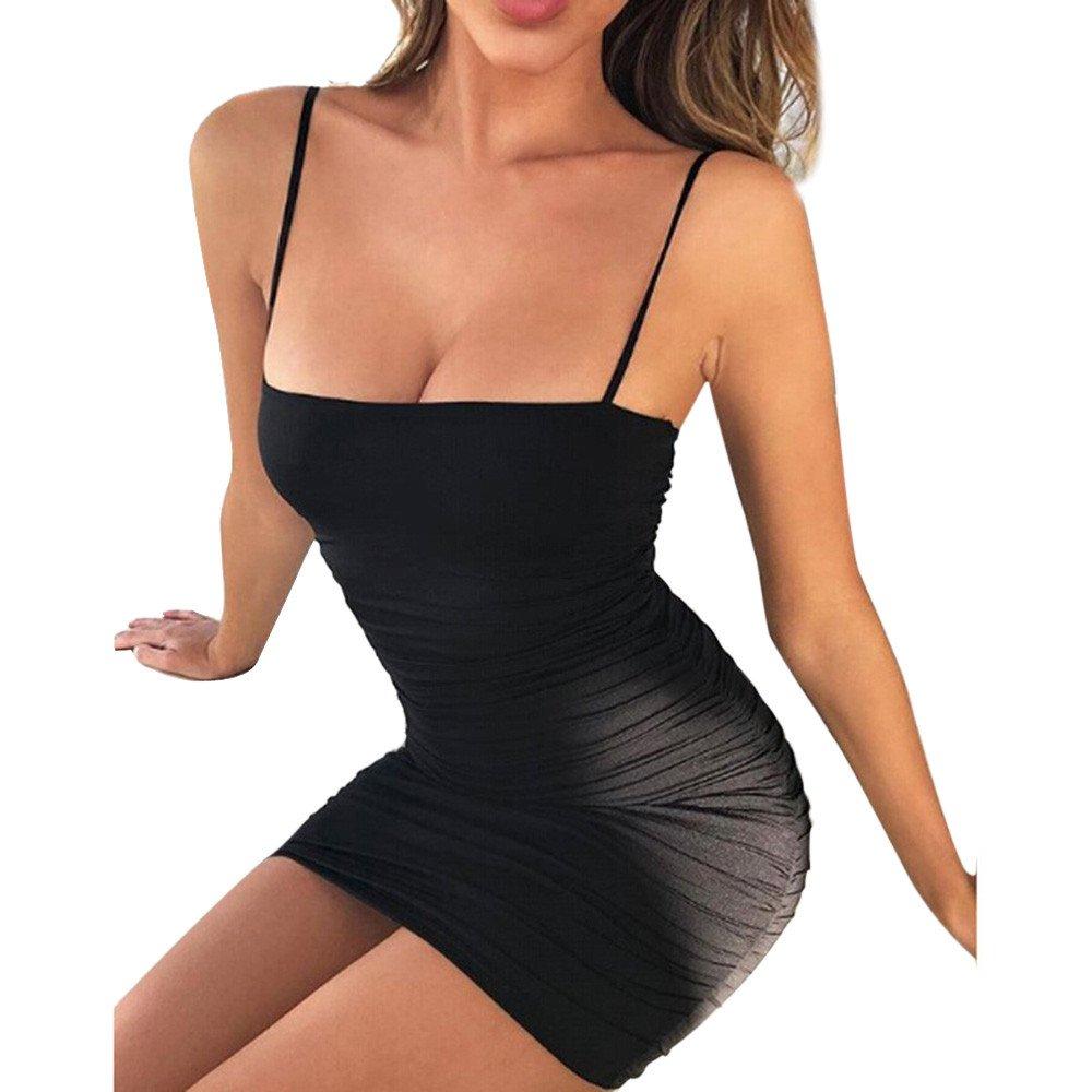 Winsummer Women's Sexy Spaghetti Strap Sleeveless Bodycon Mini Club Dress Black