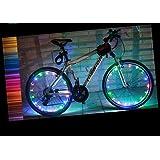 YYGIFT® Impermeable 20Led Bicicleta Rueda Luz Cadena Seguridad Fresco Bicicleta Rueda luz para Noche Ciclismo Seguro–Trabajo con 3Pilas AA