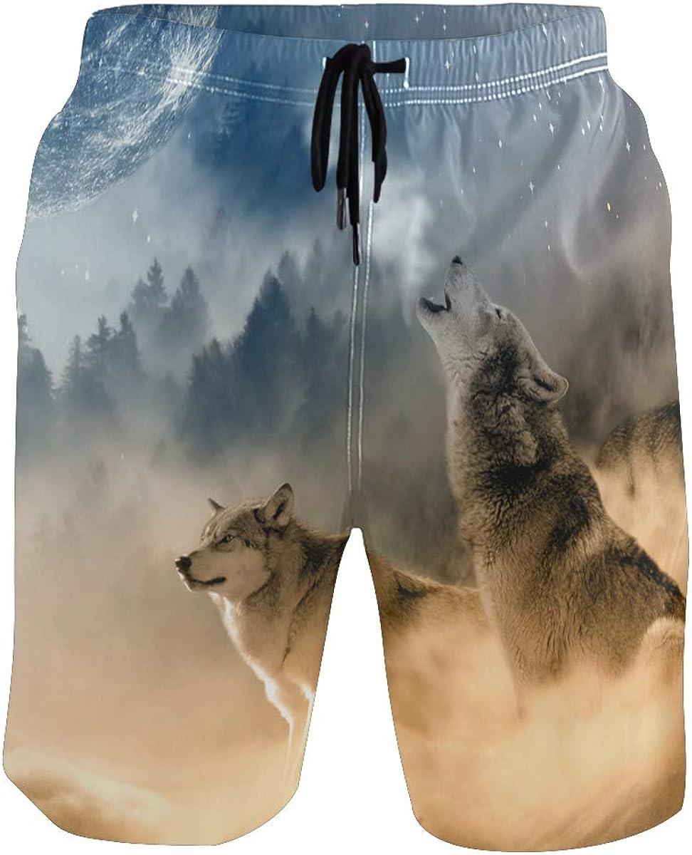 Boys Wolves in The Mist Popular Quick Dry Swim Trunks Elastic Drawstring Swim Shorts with Pocket