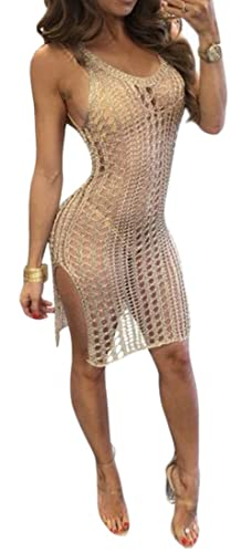 Papijam Women's Sexy Knit Low Cut See Through Backless Club Dress