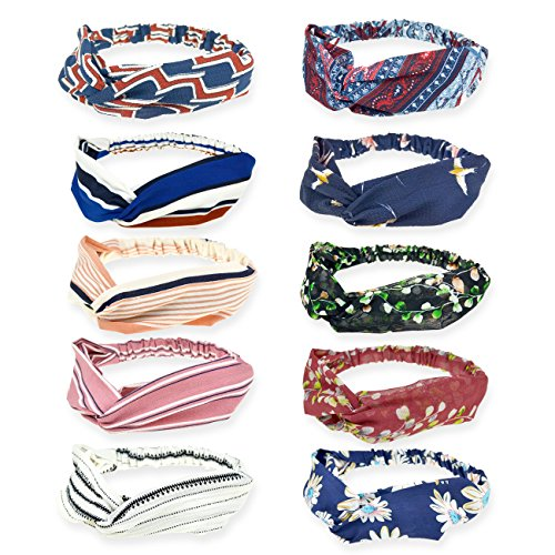 DRESHOW Boho Headbands for Women Vintage Flower Printed Criss Cross Knotted Elastic Hair Band Stretchy Head Wrap Twisted Cute Hair Accessories 10 Pack (Headband Flowers Scarf)