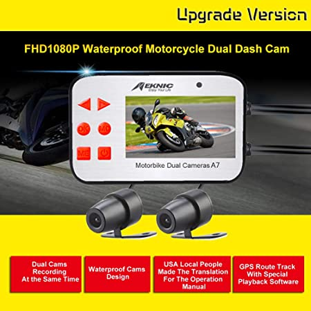 MEKNIC A7 Motorcycle Camera Dual Lens 1080P, Motorcycle Camera Front and Rear with 2.7 LCD Screen and GPS, Waterproof Motorcycle Camera System,Motorcycle Dash Camera with Good Night Vision