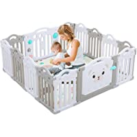 Baby Playpen, 14-Panel Foldable Kids Safety Activity Center Playard w/Locking Gate, Non-Slip Rubber Mats, Adjustable Shape,Versatile Indoor & Outdoor Play Space(Beige + Gray, Classic Set 14 Panel)