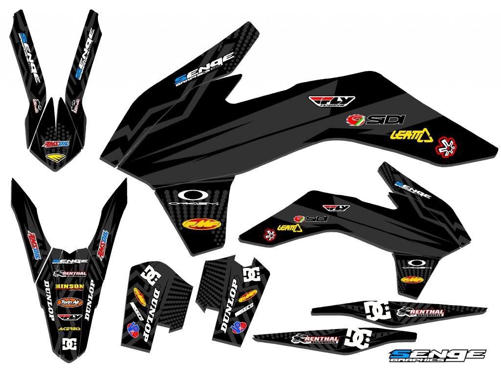 Senge Graphics 2016-2018 KTM SXF, Mayhem Black Graphics Kit