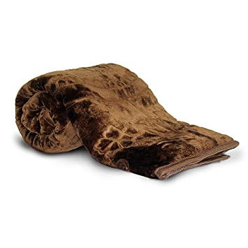 Little India Rich Look Soft Embossed Floral Microfibre Single Blanket - Brown
