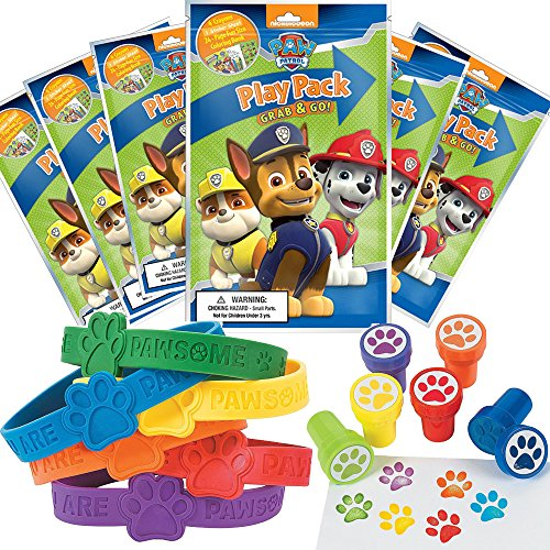 Paw Patrol Party Favor Set - 6 Grab & Go Coloring Book Play Packs, 6 Paw Print Rubber Bracelets, 6 Paw Print Stampers ()