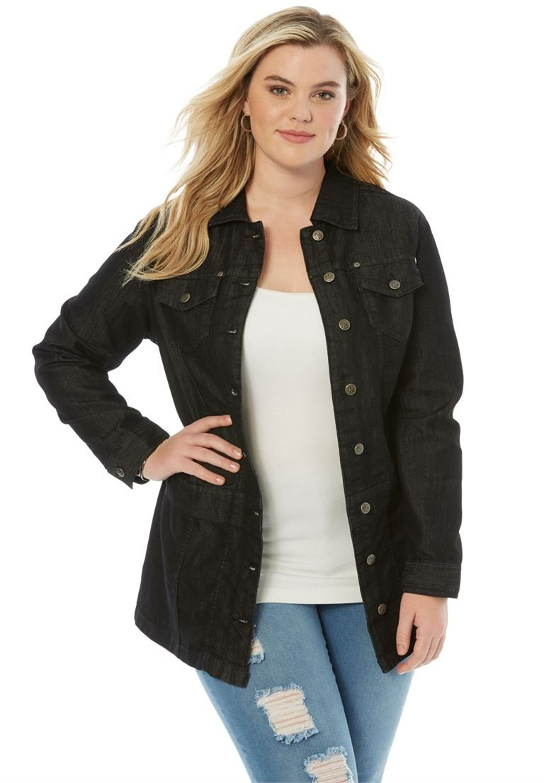 Roamans Women's Plus Size Long Jean Jacket