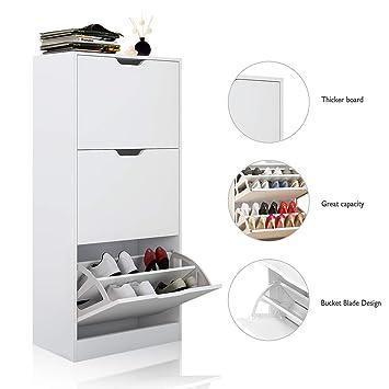 new product 5a298 262c9 Armoire à chaussures 3 niveaux-magasin de chaussures blanc jusqu à 12-18