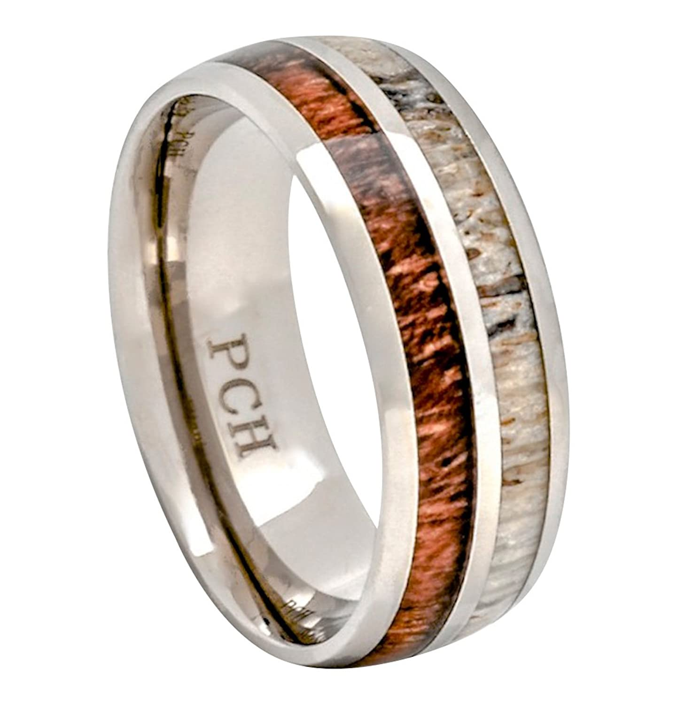 deer antler and koa wood ring titanium mens wedding band comfort fitamazoncom - Antler Wedding Rings