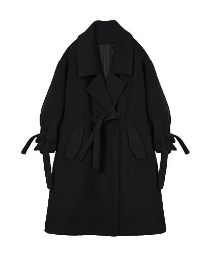 El invierno es pesada y un cordón cintura adelgaza la rodilla abrigo de lana de las niñas?