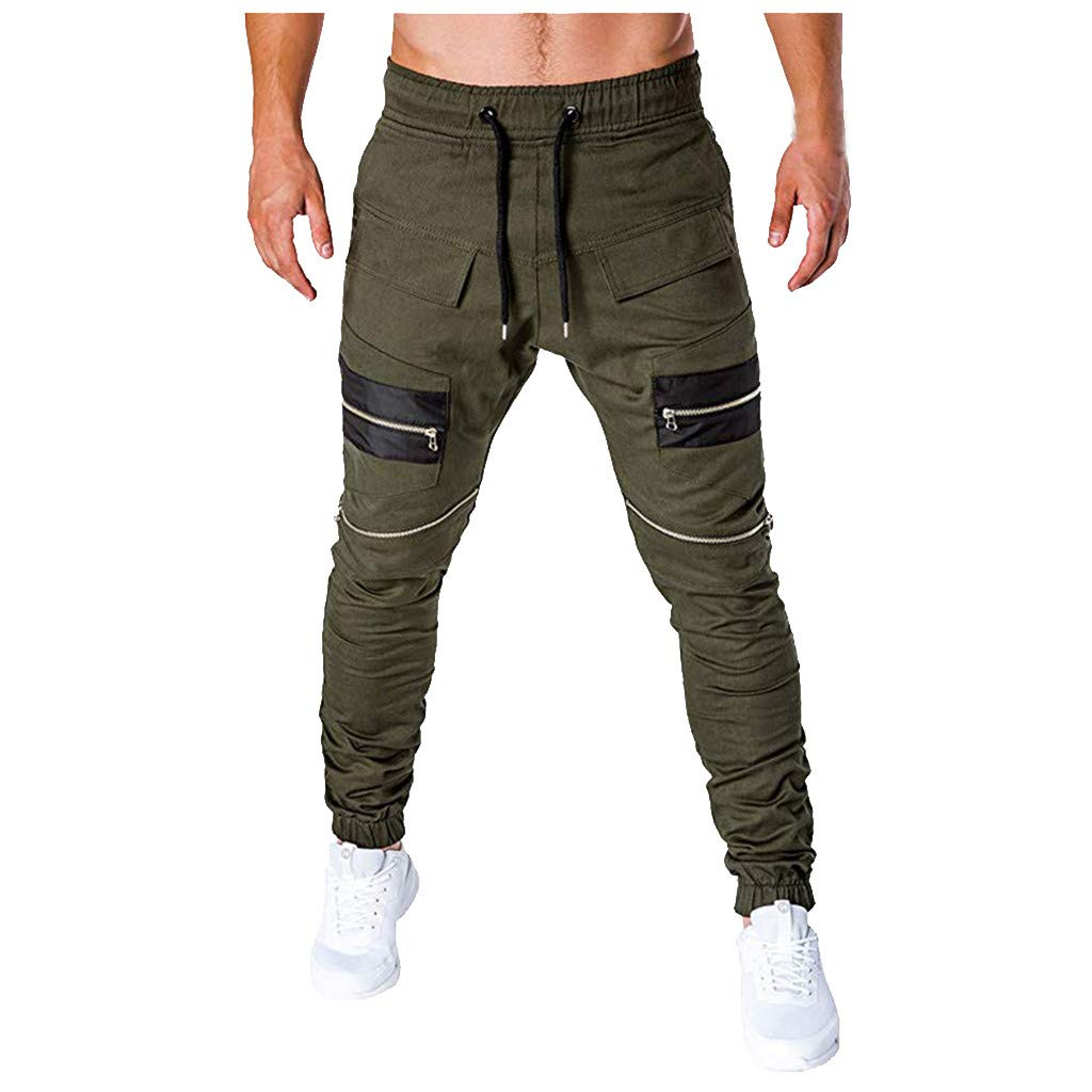 Sunyastor Mens Gym Jogger Pants Training Workout Slim fit Sweatpants Causal Sports Trousers Pants with Zip Pockets Green