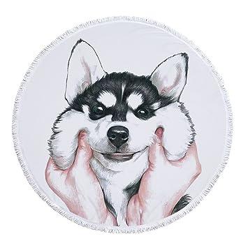 Sticker Superb Grande Linda Serie Toalla de Playa Estilo Animal 60 Pulgadas Redondo Estera de Yoga Manta de Playa Manta de Picnic para Chicas Mujer y Hombre ...