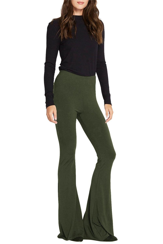 Poshsquare Women's Jersey Knit Bell Bottom High Waist Flared Palazzo Yoga Pants USA