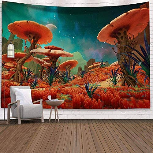 Holcuva Psychedelic Tapestry Mushroom Tapestry Fantasy Landscape Forest Tapestry Trippy Tapestries Wall Hanging for Bedroom Living Room Dorm Decor 70.8×90.5 Inches