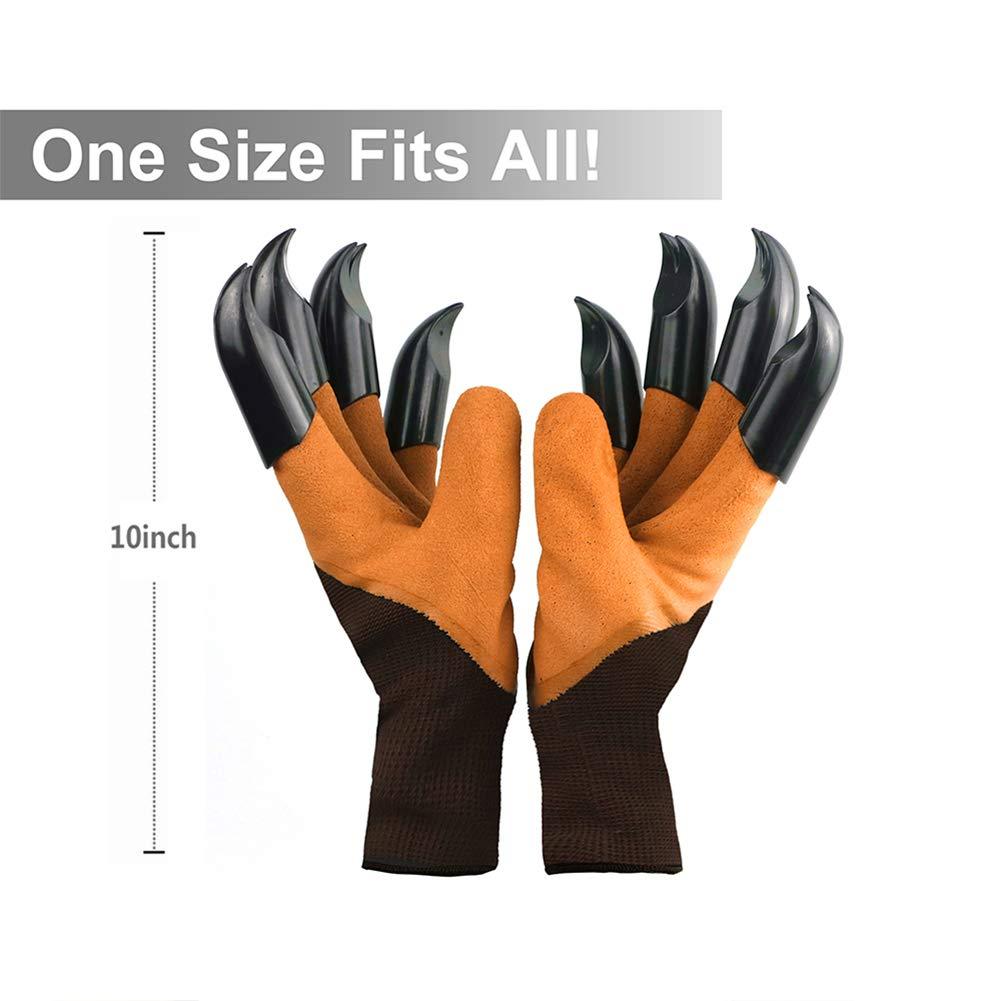 Best Gardening Gifts for Women and Men. Brown Waterproof Garden Gloves with Claw For Digging Planting Garden Genie Gloves