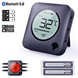 Bfour Bluetooth Meat Thermometer Smart Wireless Digital BBQ Thermometer APP Controlled with 2 Stainless Steel Probes, Large LCD Display, Grilling Thermometer for Cooking Smoker Grill Kitchen Oven