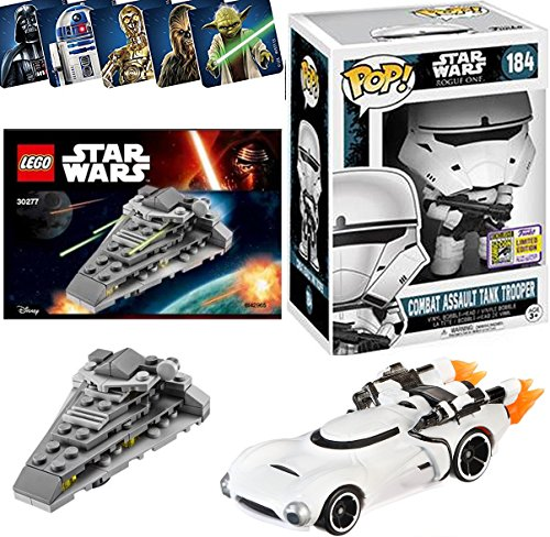 Star Wars Pop! Character Car / First Order Buildable Star Destroyer / Exclusive Funko figure #184 SDCC Combat Assault Tank Trooper Vinyl Bobble-Head Set + Hot Wheels Flame Trooper Car & Bonus Stickers
