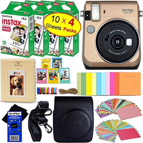 Fujifilm instax Mini 70 Instant Film Camera (Stardust Gold) + Fujifilm instax Mini Instant Film (40 Sheets) + Custom Case + Assorted Frames + Photo Album + 60 Colorful Sticker Frames + HeroFiber
