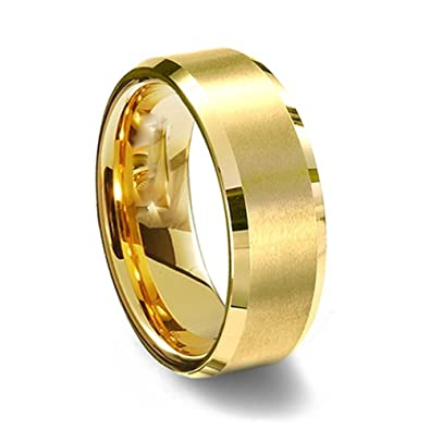 Gemini His or Her Yellow Gold fort Fit Beveled Edge Plain