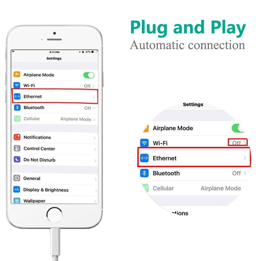 Lightning To Rj45 Ethernet Lan Wired Network Adapter For Wiring Diagram Wire Wall Jack Ether Cable Iphone And Ipad Plug Play No App Required Computers Accessories
