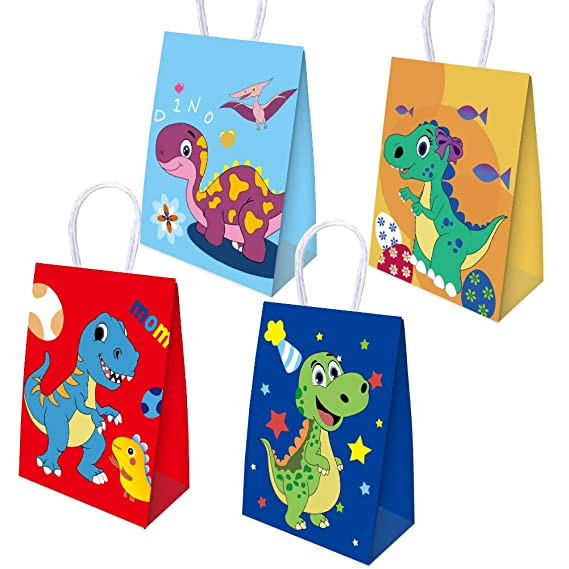 16 Pack Dinosaur Party Bags Goodie Candy Treat Bags Dino Kids Dinosaur Themed Birthday Party Favor Supplies