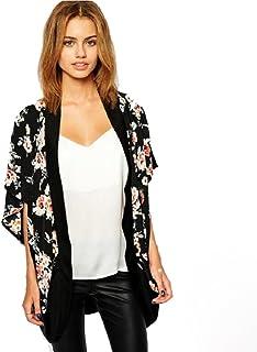 Lookatool Women's Floral Printed Splice Chiffon Shawl Kimono Cardigan Tops Cover up