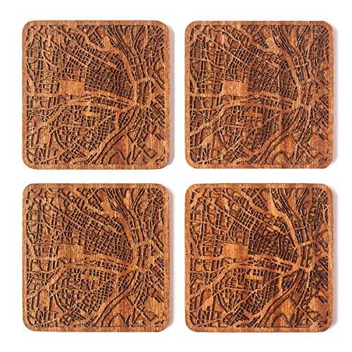 St. Louis, MO Map Coaster, Set of 4, Sapele Wooden